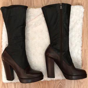Black/brown leather Prada platform mid-calf boots